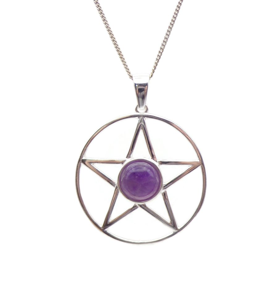 Pentagram Amethyst Sterling Silver Necklace Gemstone