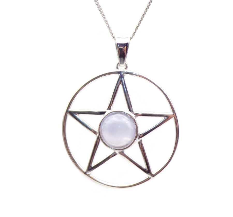 Pentagram Blue Lace Agate Sterling Silver Necklace