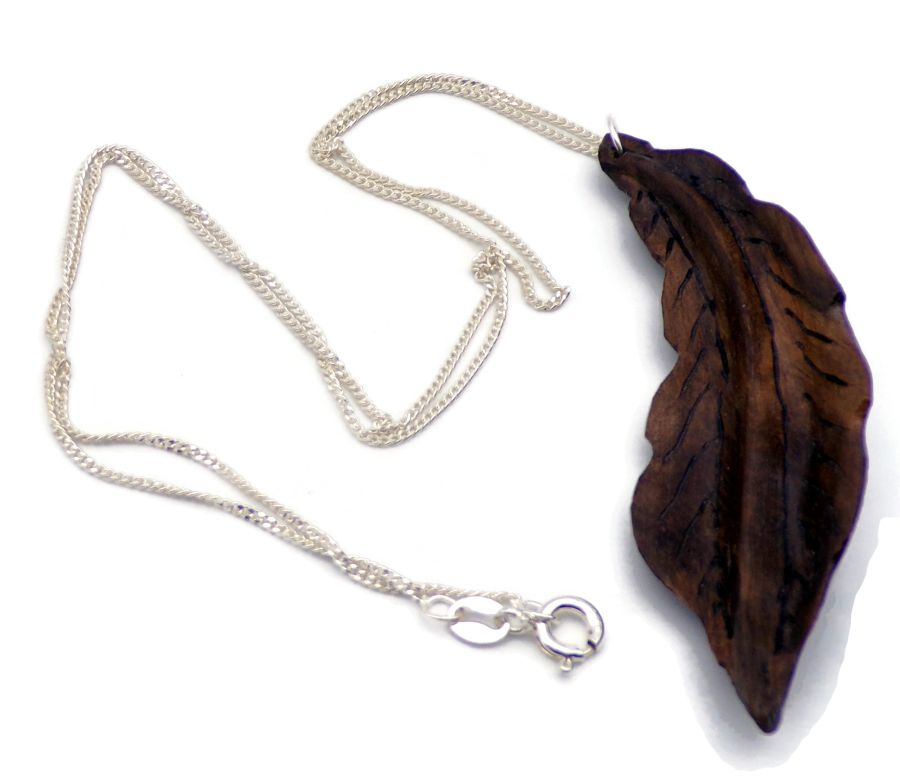 Leaf design Pendant Necklace in Walnut Root