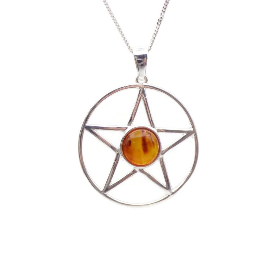 Pentagram Amber Sterling Silver Necklace Gemstone