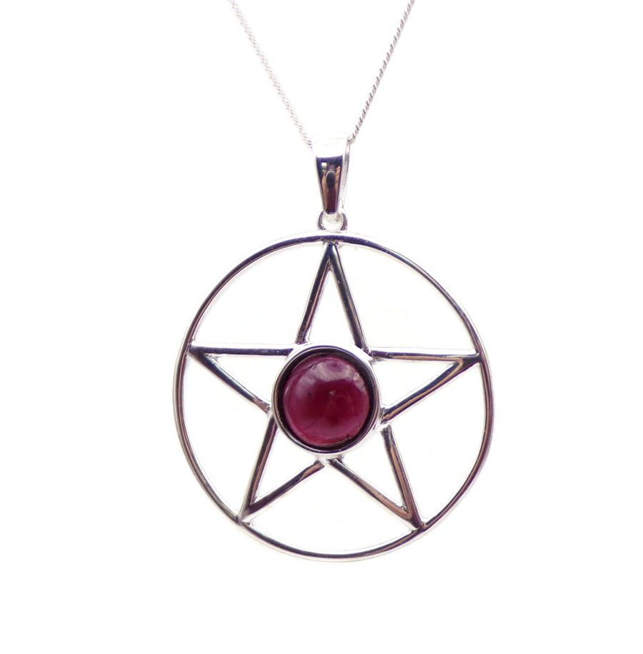Pentagram Garnet Sterling Silver Necklace Gemstone