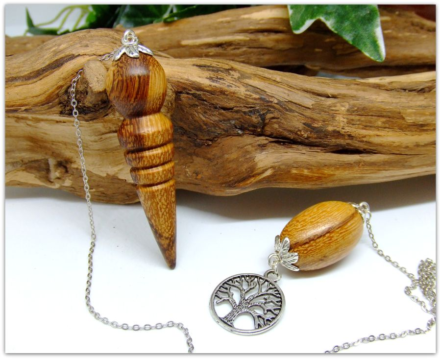 Wooden Pendulum in Marblewood Tree of Life