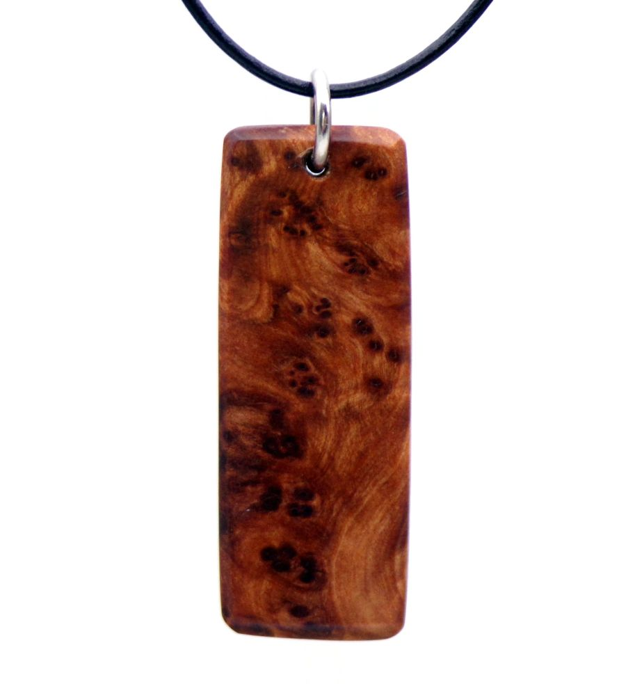 Ingot design Pendant Necklace in Thuya Burr Wood