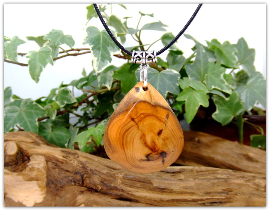 Teardrop design Pendant Necklace in English Yew wood