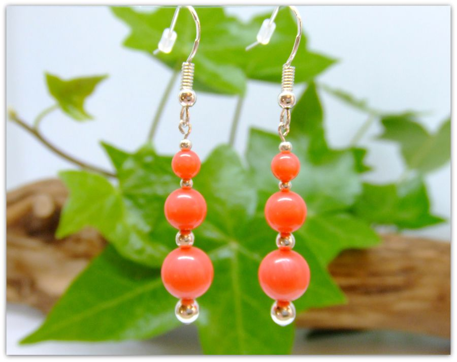 Sterling Silver Coral Drop Bead Earrings .925 Fish hook