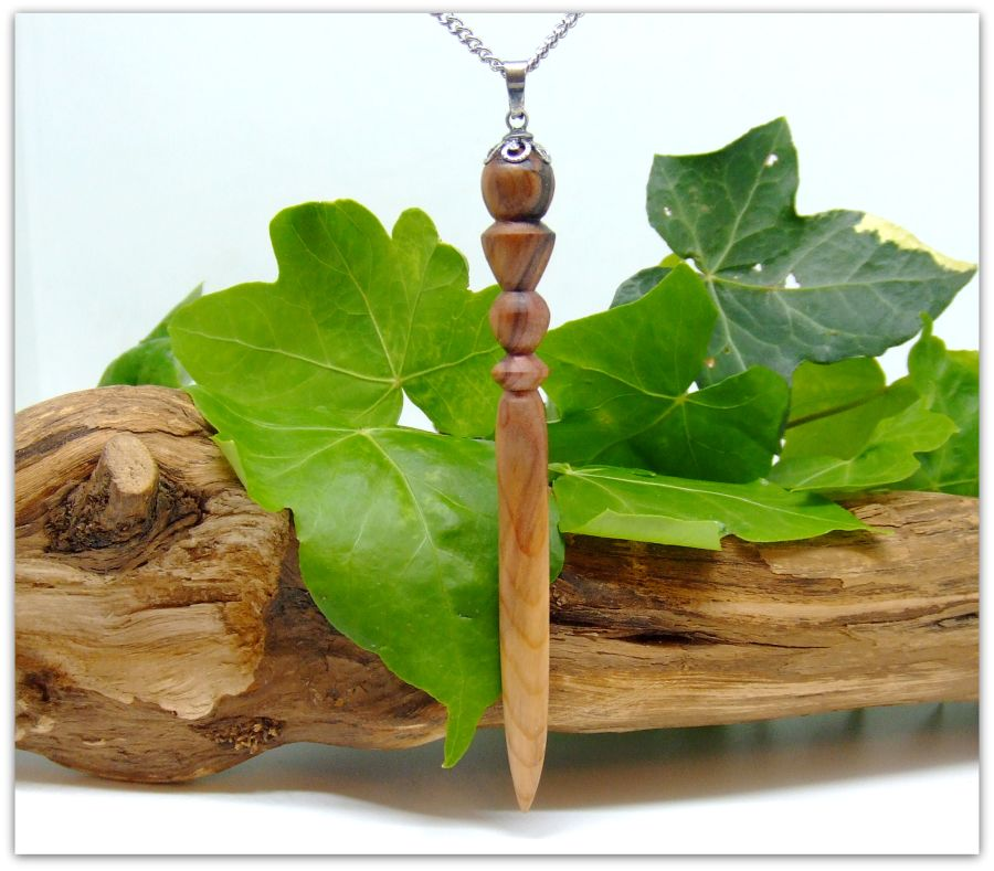Mini Athame Sword Pendant Necklace in English Yew Wood
