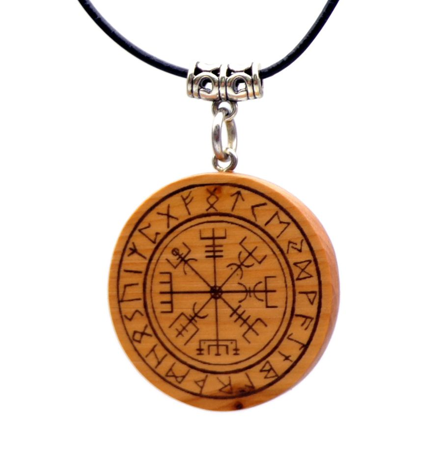Vegvisir Pendant Necklace in English Yew wood