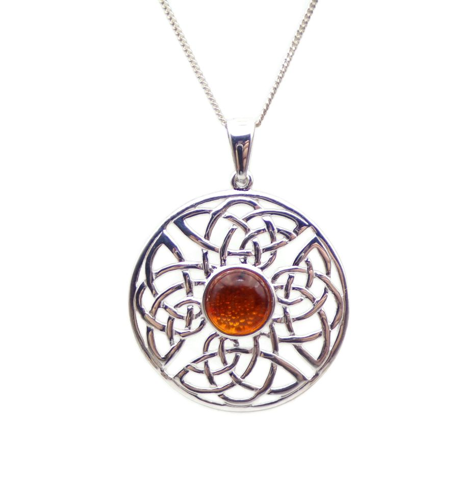 Celtic Amber Sterling Silver Necklace Gemstone Pendant
