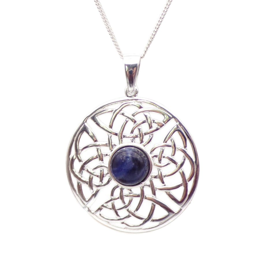 Celtic Sodalite Sterling Silver Necklace Gemstone