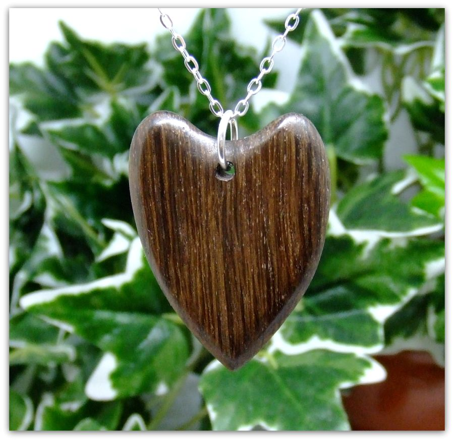Heart design Pendant Necklace in English Bog Oak