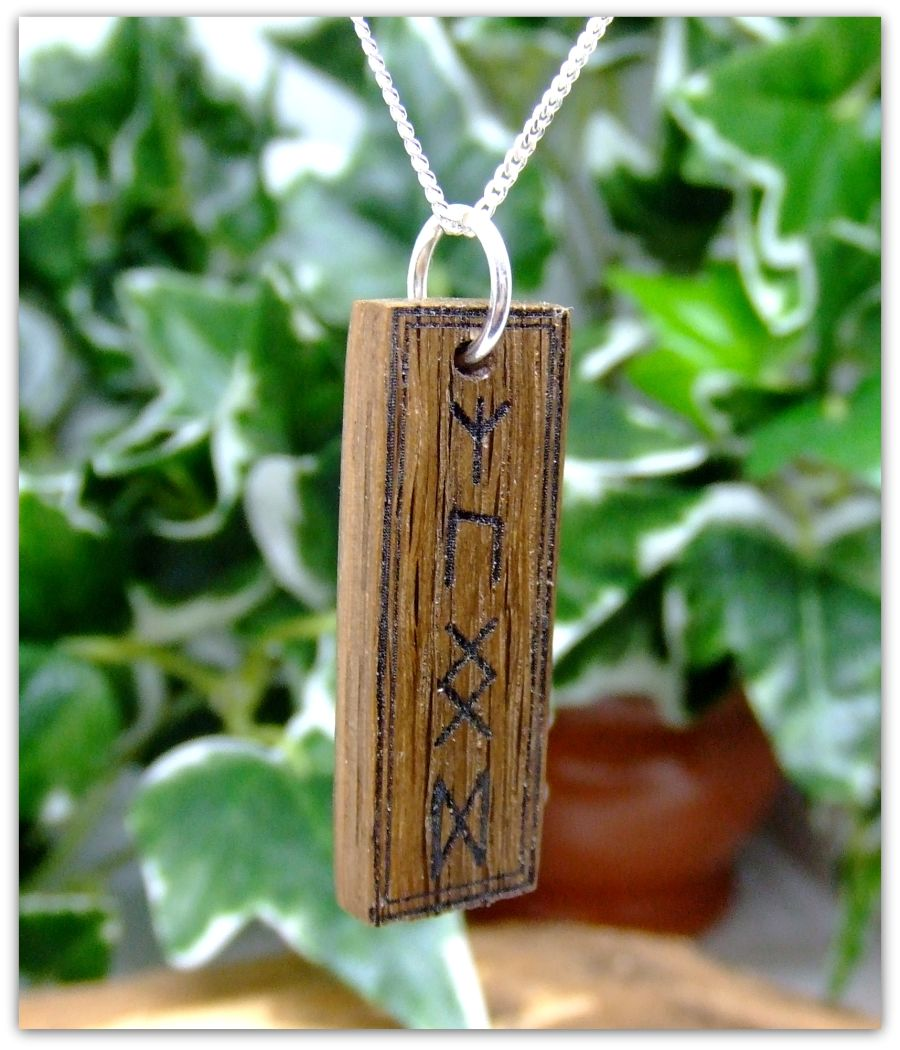 Rune symbol Pendant Necklace in Irish Bog Oak