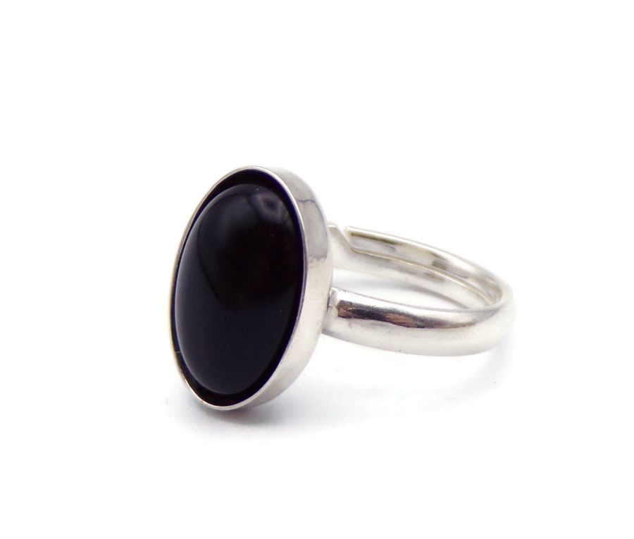 Black Onyx Gemstone set in an Oval Sterling Silver Ring