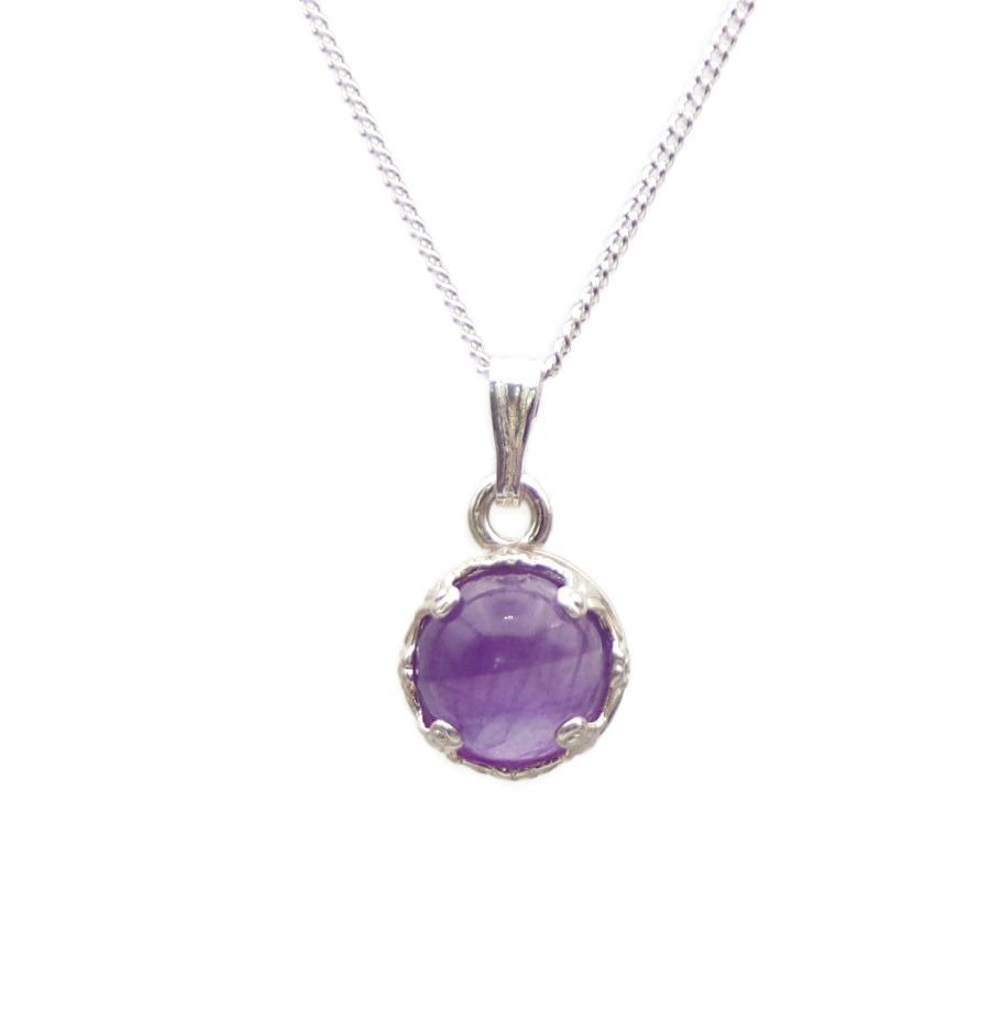 Amethyst Silver round decorative Pendant Necklace