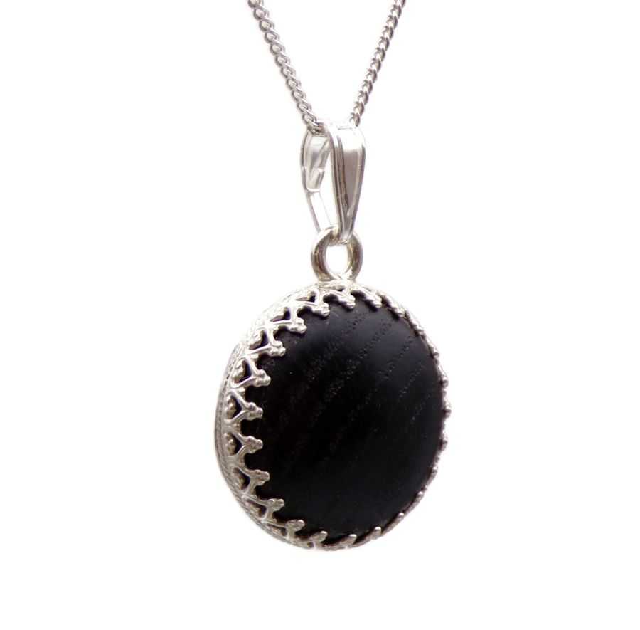Sterling Silver Necklace in 3000 year old English Bog Oak