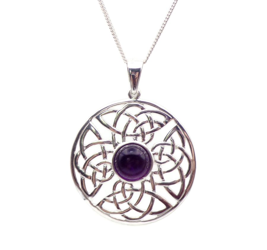Celtic Amethyst Sterling Silver Necklace Gemstone Pendant