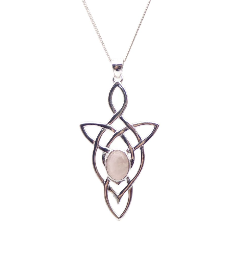 Celtic Arrow Rose Quartz Sterling Silver Necklace