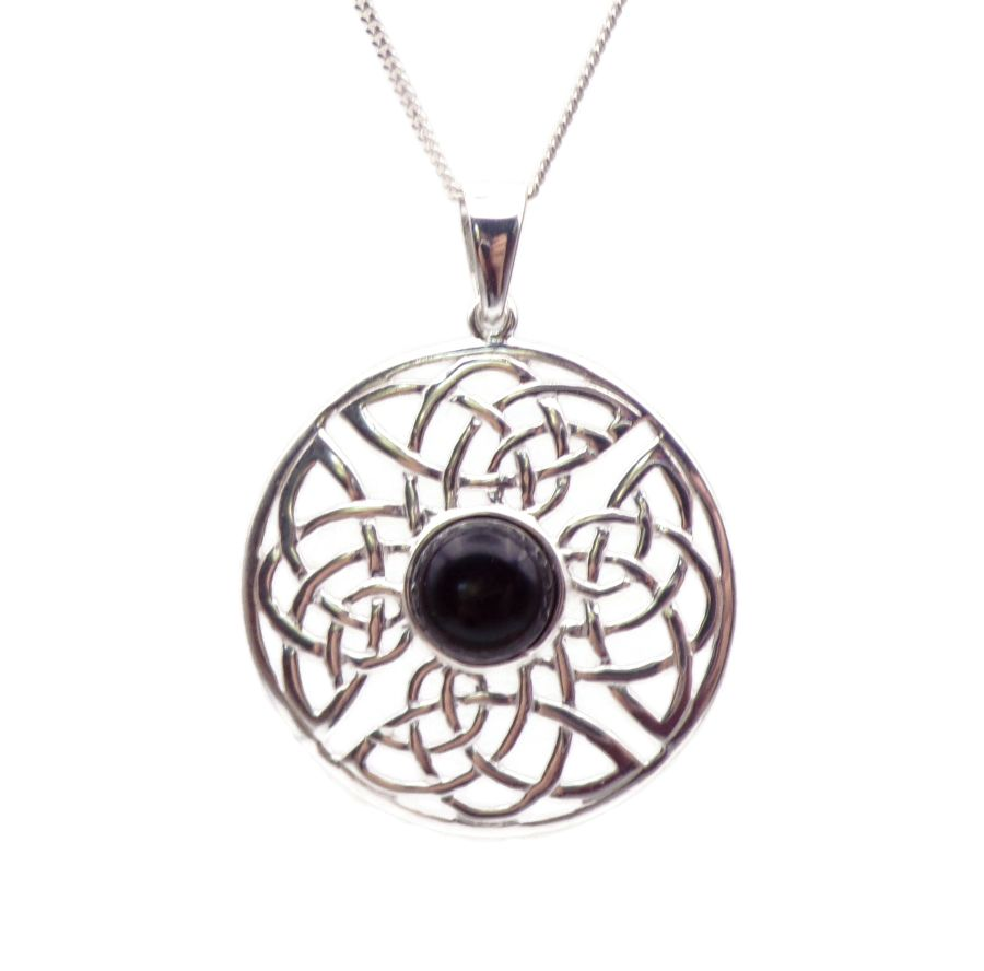 Celtic round Black Onyx Sterling Silver Necklace Gemstone