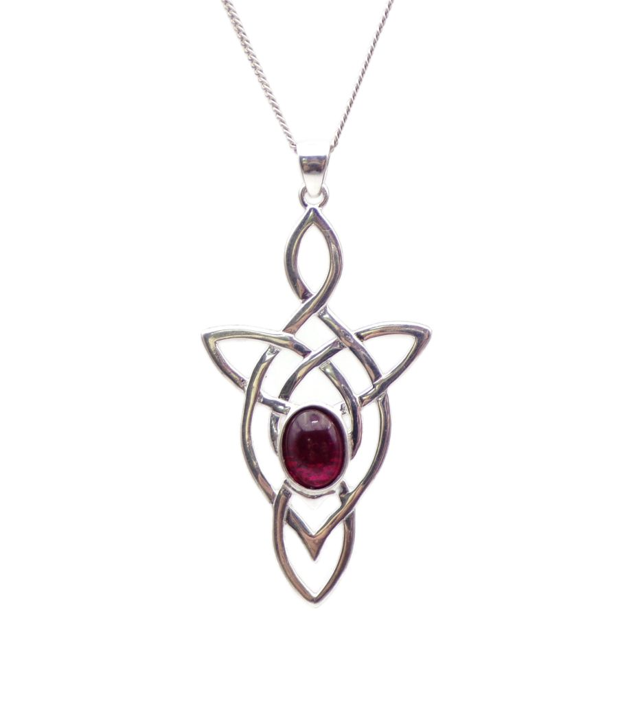 Celtic Arrow Garnet Sterling Silver Necklace Gemstone