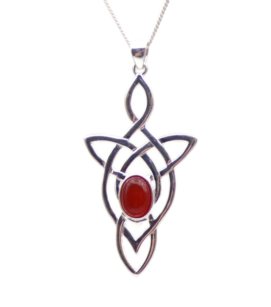 Celtic Arrow Carnelian Sterling Silver Necklace Gemstone