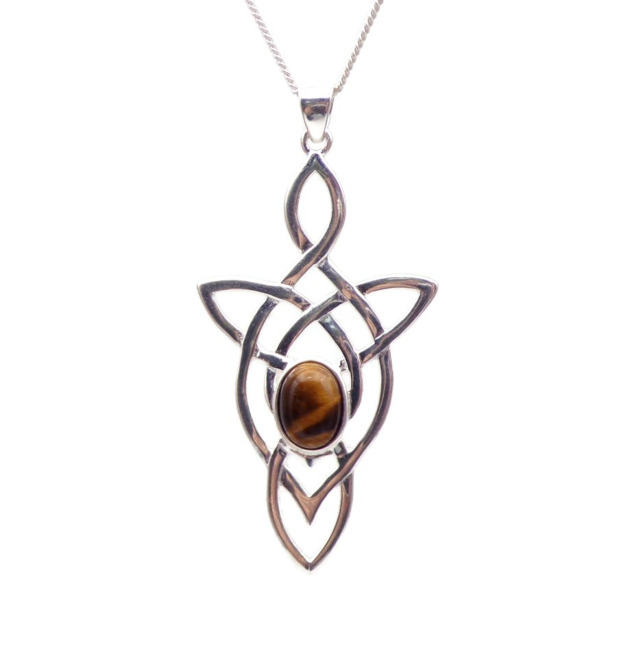 Celtic Arrow Tigers Eye Sterling Silver Necklace