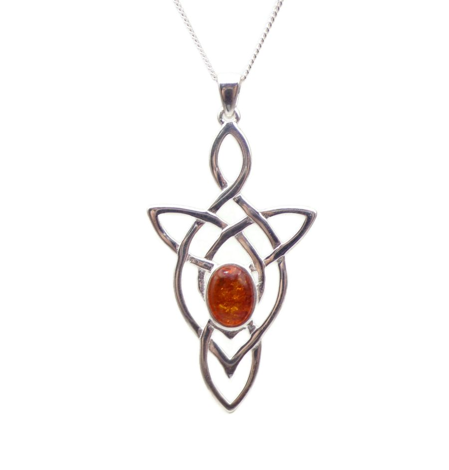 Celtic Arrow Amber Sterling Silver Necklace