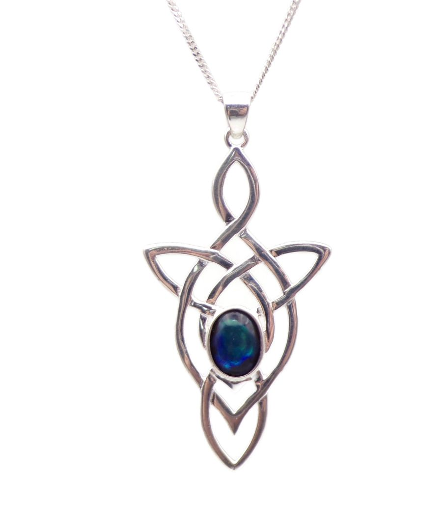 Celtic Arrow Blue Abalone Sterling Silver Necklace shell
