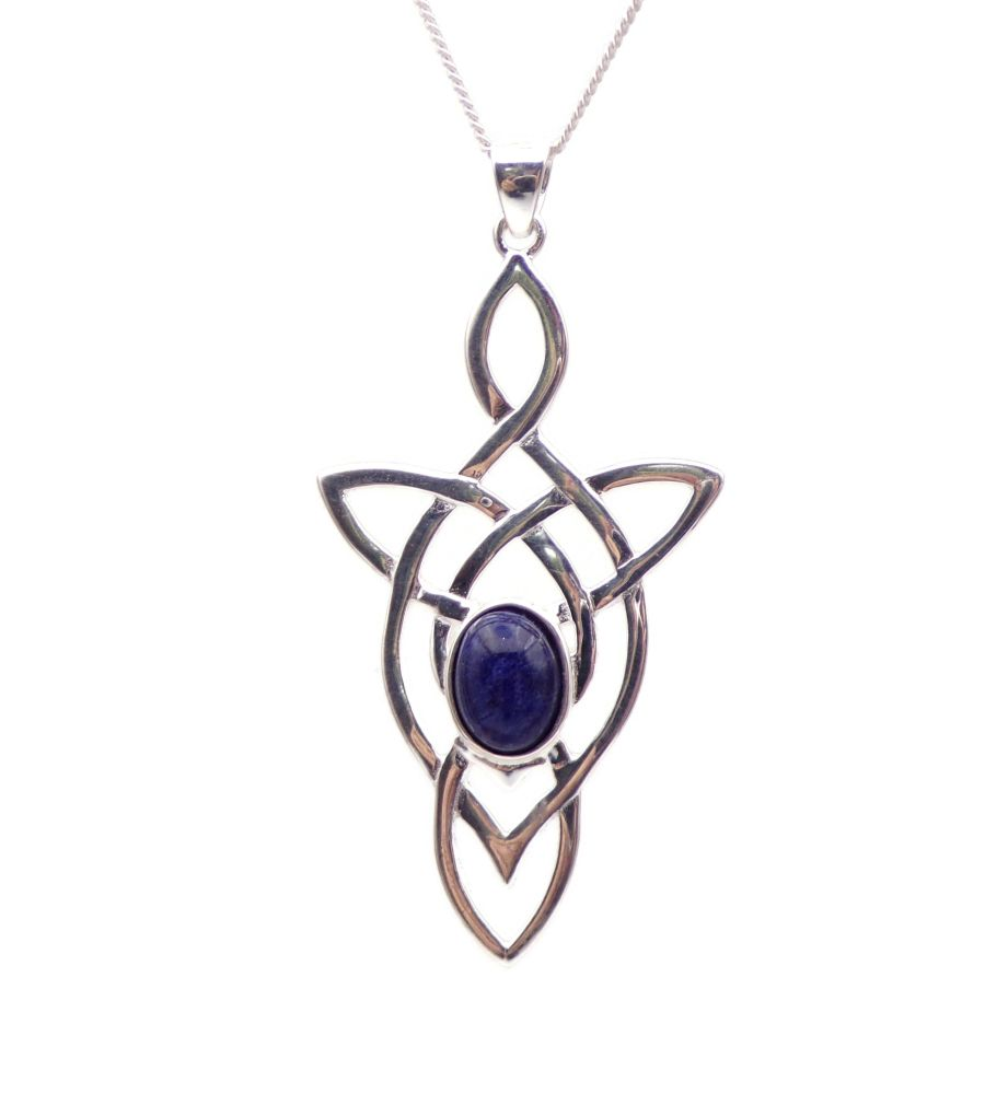 Celtic Arrow Blue Sodalite Sterling Silver Necklace