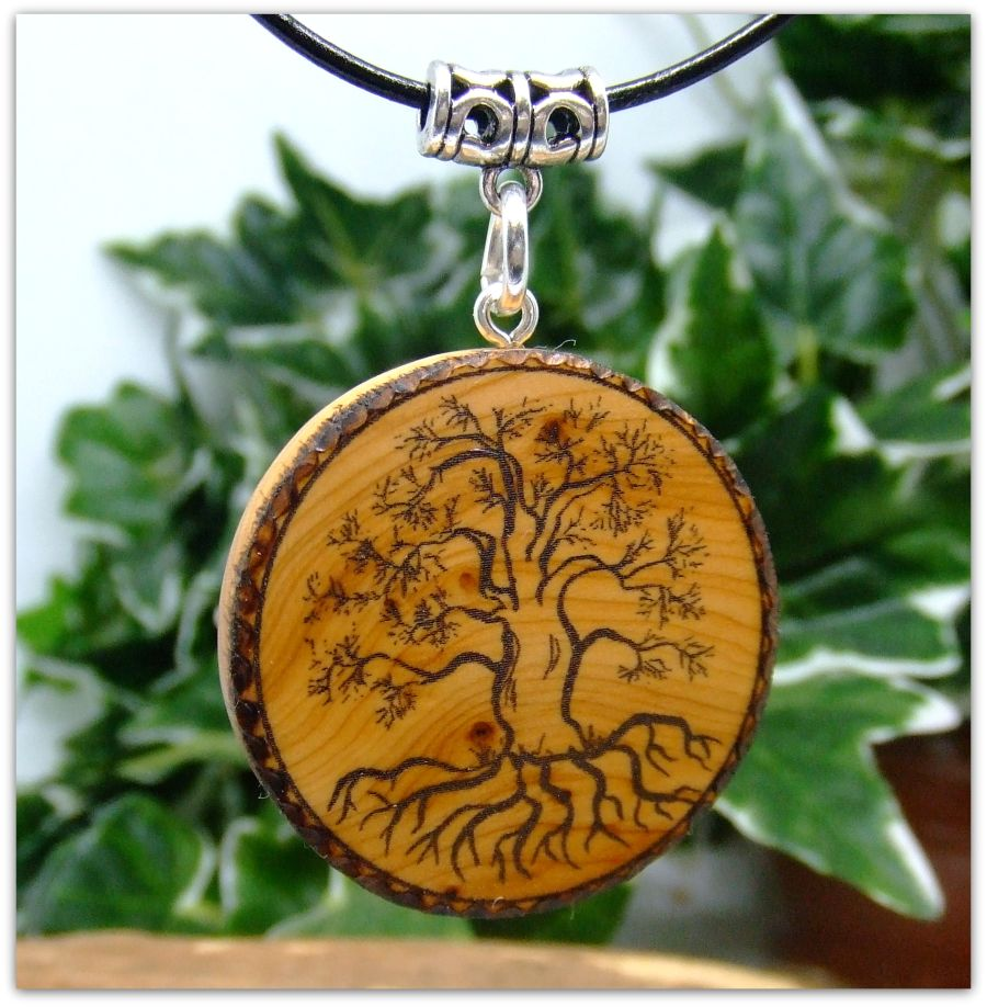 Yggdrasil Tree of Life Pendant Necklace in English Yew