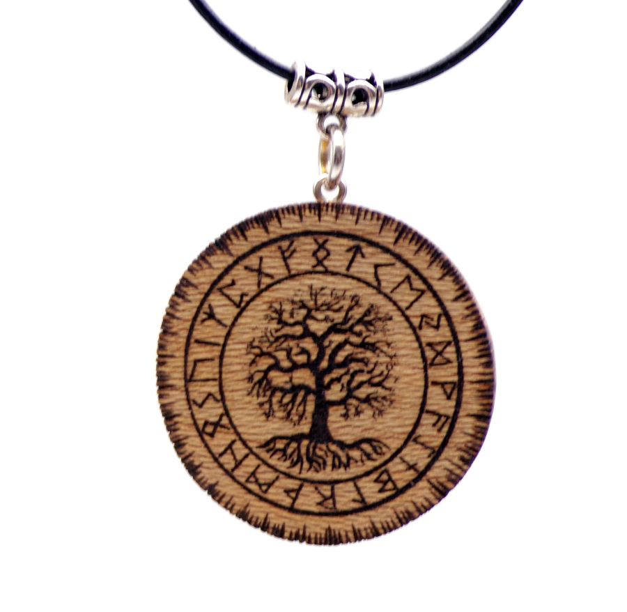 Yggdrasil Pendant Necklace in London Plane wood