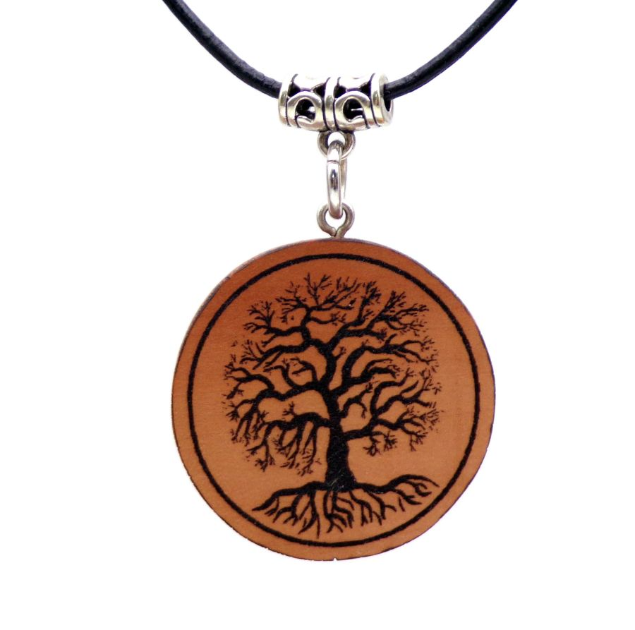 Yggdrasil Pendant Necklace in English Pear wood Gift Icelandic Wooden New Age Pagan Wiccan