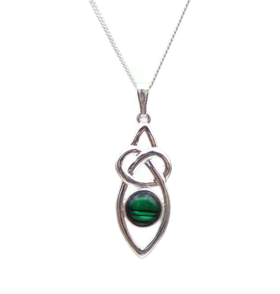 Celtic Knot Malachite Sterling Silver Necklace Gemstone Pendant 18