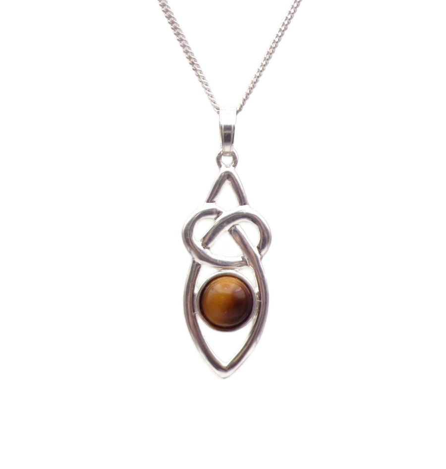 Celtic Knot Tigers Eye Sterling Silver Necklace Gemstone Pendant 18