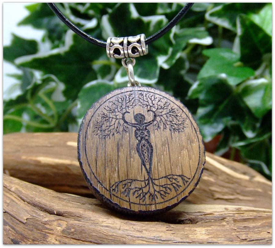 Goddess Yggdrasil Pendant Necklace in Irish Bog Oak wood Leather cord Gift Wooden Tree of Life