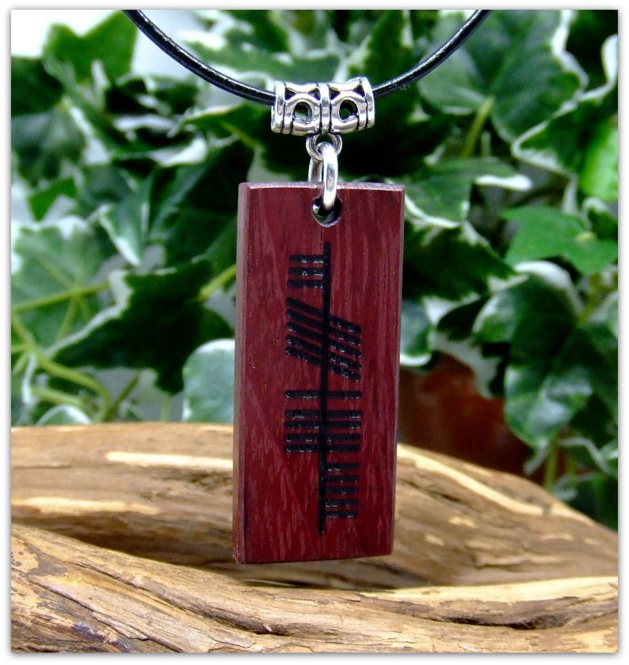 Ogham Neart Strength Rectangular Pendant Necklace handcrafted in Purpleheart Wood Pagan Wicca Ritual Celtic