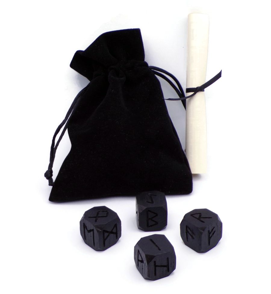 Wooden Elder Futhark Rune Dice in 3000 year old English Bog Oak