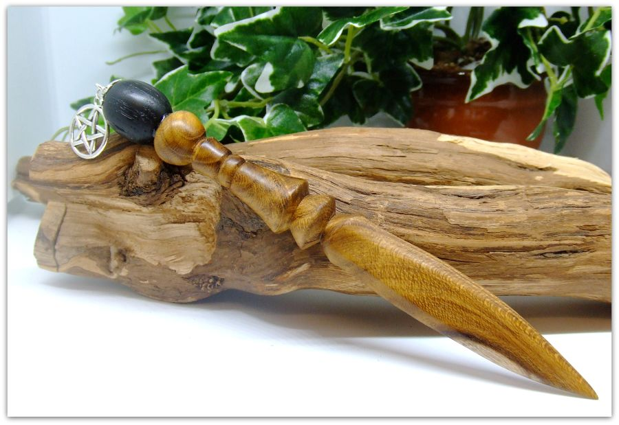 Mini Ritual Athame handcrafted from 5000 year old Irish Bog Oak and Laburnum wood