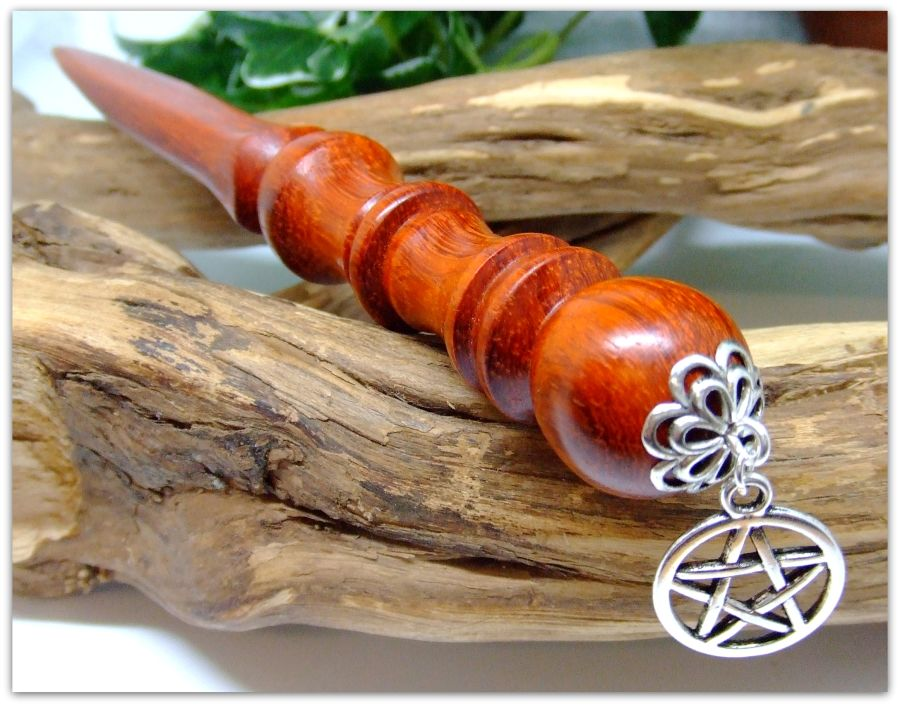 7.25 inch Ritual Athame handcrafted in African Padauk wood
