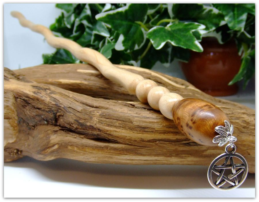 12.5 inch Witches Spiral Ritual Wand handcrafted in Maple wood and Thuya Burr Wood
