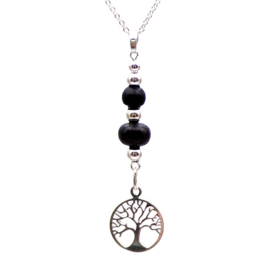 Tree of Life Pendant Necklace with beads in Irish Bog Oak