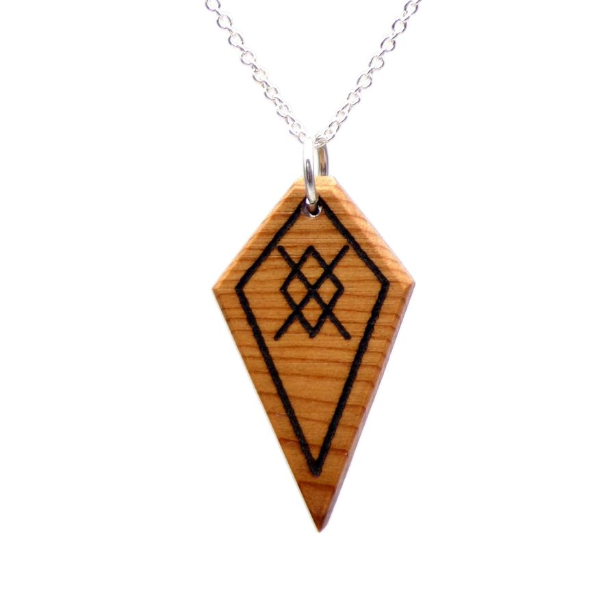 Spear of Odin Arrow head Pendant Necklace handcrafted in English Yew Wood