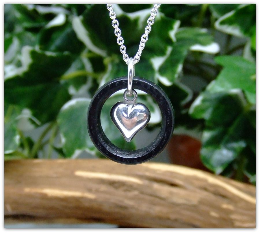 Sterling Silver Heart Ring Pendant Necklace hand crafted in 3000 year old English Bog Oak