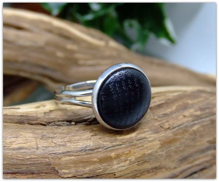 Platinum plated Ring inset with 3000 year old English Bog Oak wood