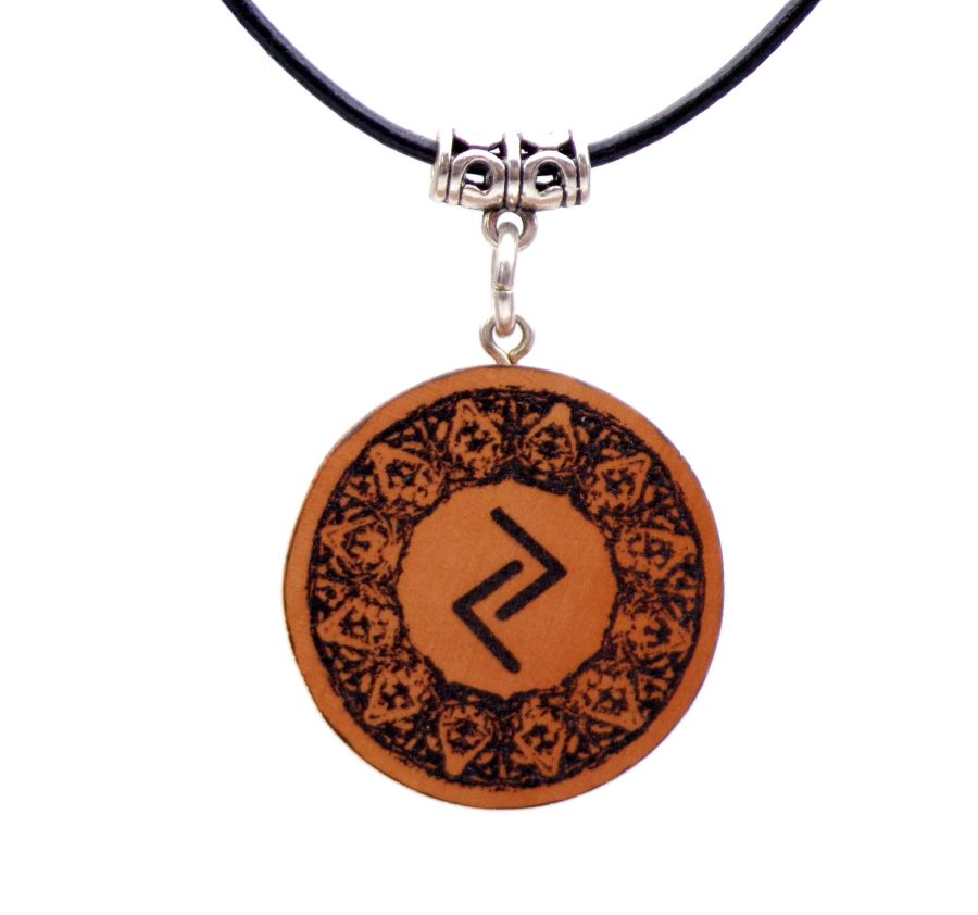 Jera Rune Symbol Wooden Pendant Necklace Handcrafted in English Pear wood