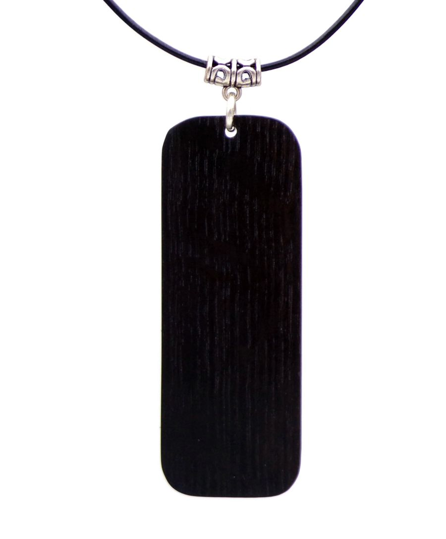 Large Rectangular Pendant Necklace in Irish Bog Oak wood