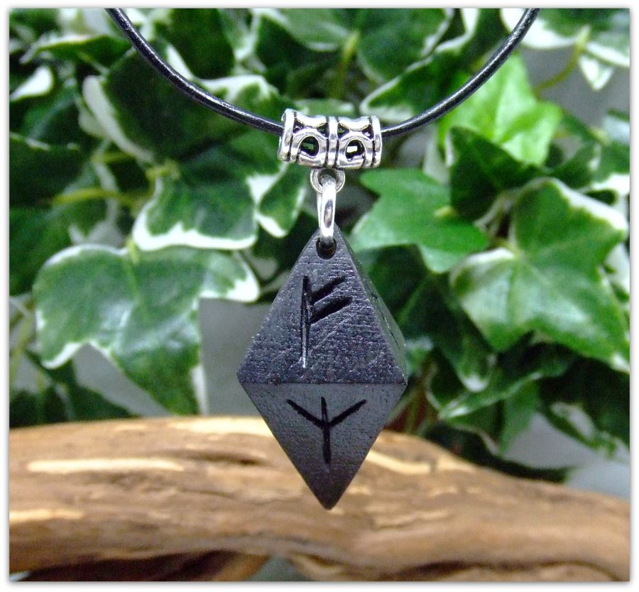 Rune symbol Octahedron Wooden Pendant Necklace Handcrafted in 5000 year old Irish Bog Oak