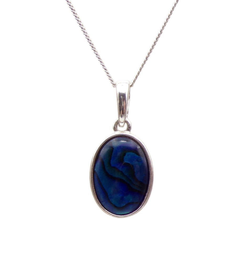 Blue Abalone Silver Pendant Necklace Oval design silver chain 14mm