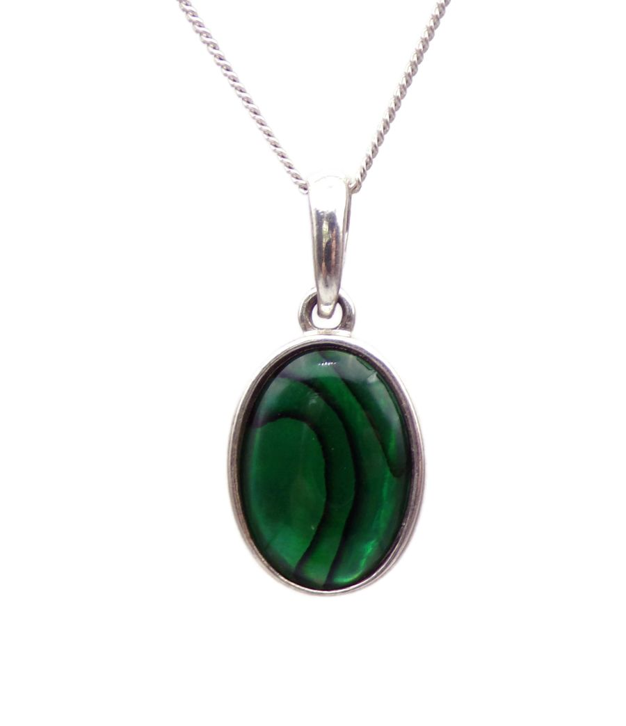 Green Abalone Silver Pendant Necklace Oval design silver chain 14mm