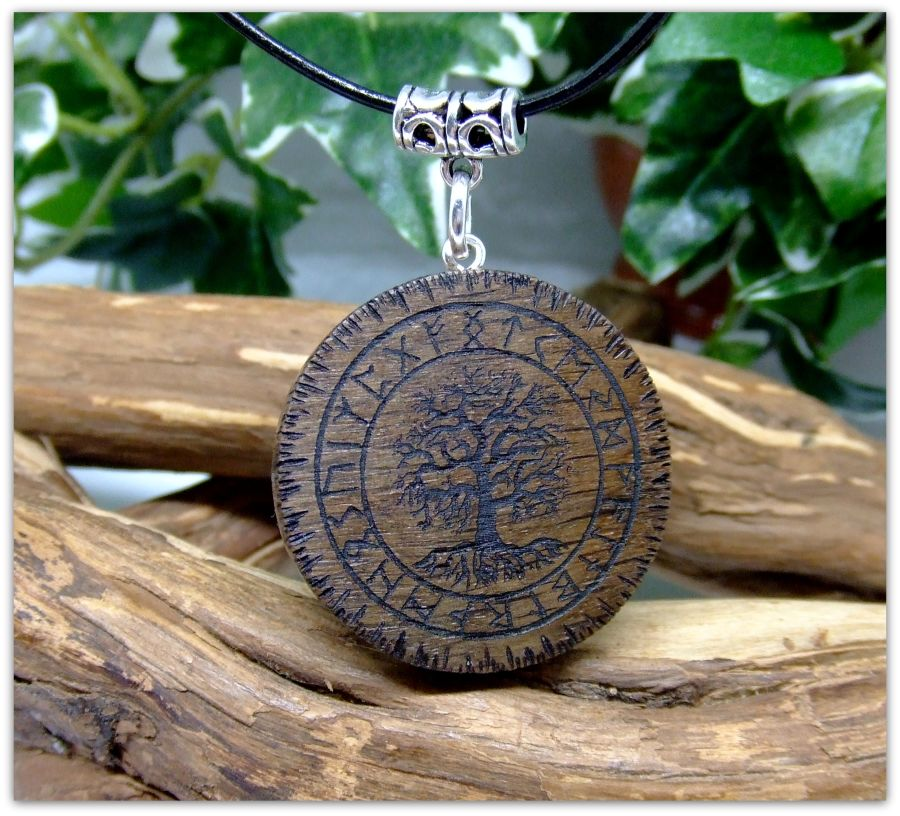 Yggdrasil Pendant Necklace in 5000 year old Irish Bog Oak wood