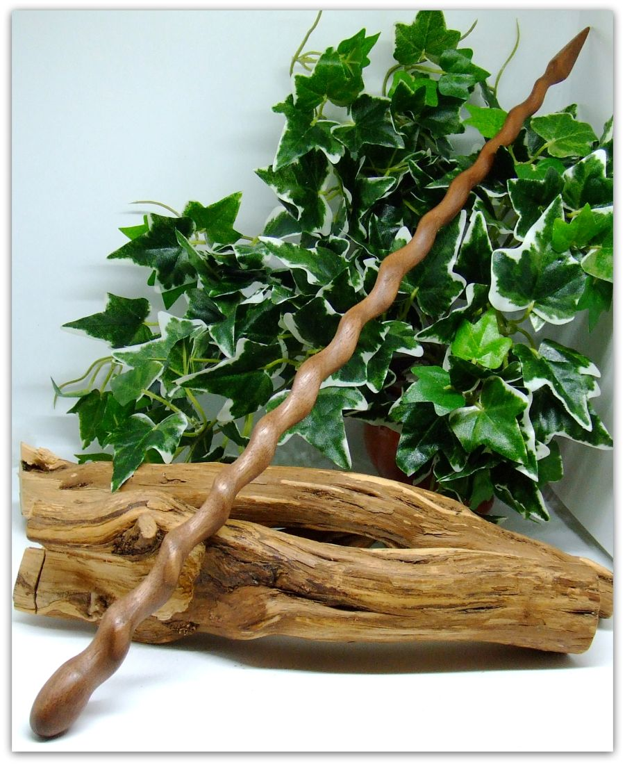 16 inch Wooden Spiral Wand Handcrafted in Black Walnut wood