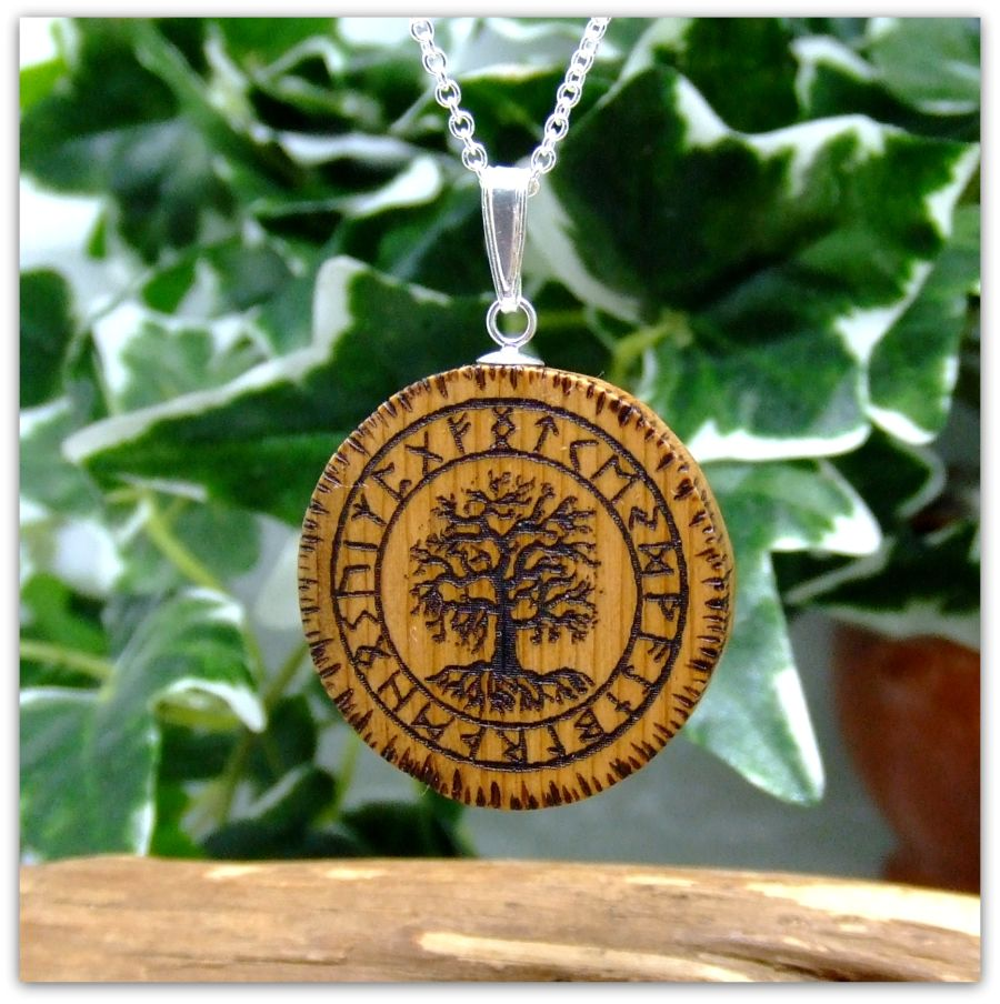 Yggdrasil Pendant Necklace in English Yew wood Sterling Silver Icelandic Norse